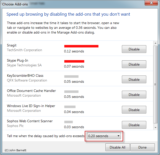 how to disable ie add ons