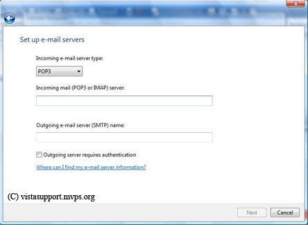 E-mail server name window