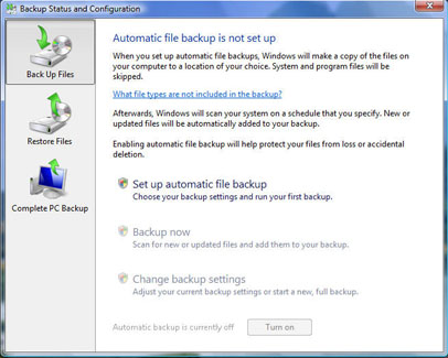 Click the Complete PC Backup option to start the backup wizard