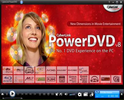 Power DVD's main interface
