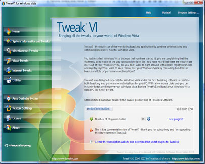 TweakVI main interface window