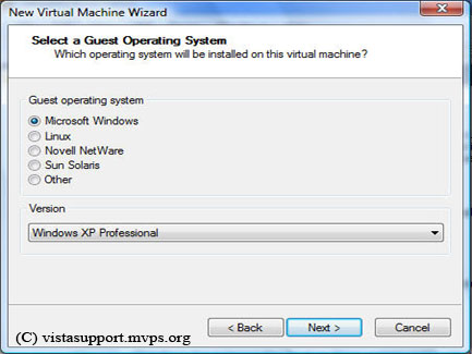 Selecting the guest operating system