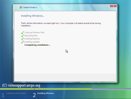 Installing windows progress screen
