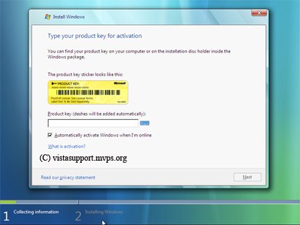 Vista Product key screen